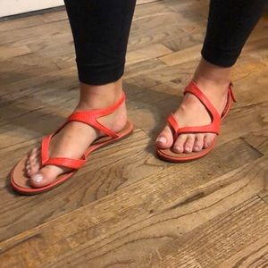 Coral Red Strappy Steve Madden Sandals